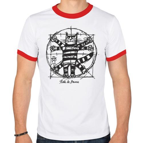 Мужская футболка рингер Кот Да Винчи
