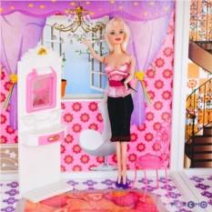 Двухэтажный кукольный дом с мебелью