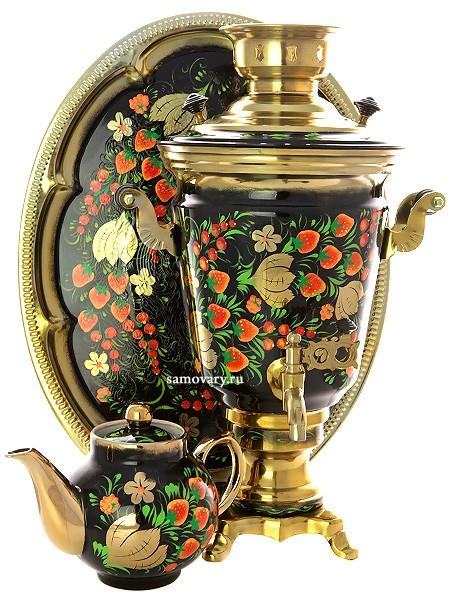Набор; самовар электрический с росписью,чайник и поднос