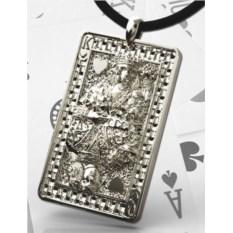 Серебряный кулон-карта Червовый король и дама