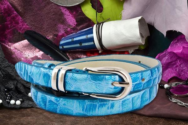 Голубой ремень G.Ferretti из натуральной кожи