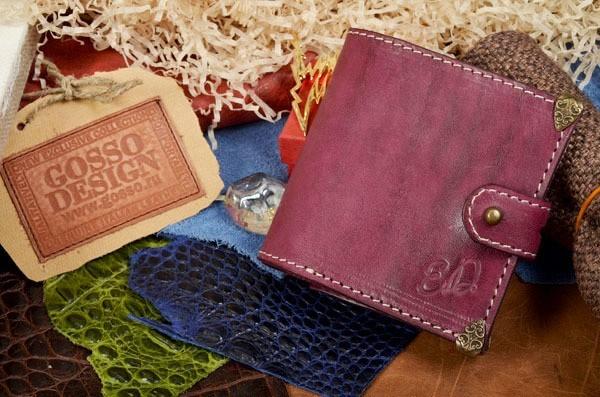 Сиреневый кожаный портмоне