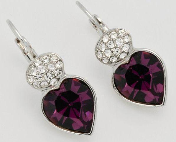 Серьги с кристаллами Swarovski Мечта Сердце пурпурные