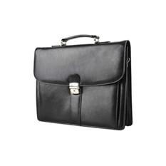 Кожаный портфель с тремя отделениями и карманом на молнии с обратной стороны