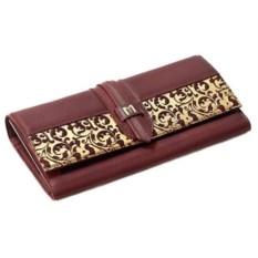 Женский кожаный кошелек (цвет - коричнево-золотой)