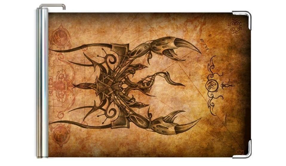 Кожаный зажим для денег Скорпион