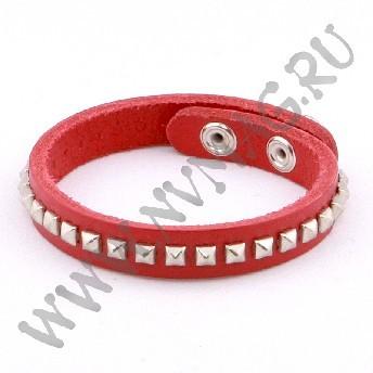 Кожаный браслет, красный