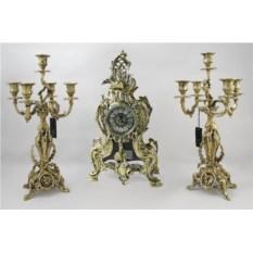 Каминные часы из бронзы с канделябрами Кассиопея