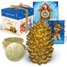 Набор с новогодней свечой «Золотая шишка»