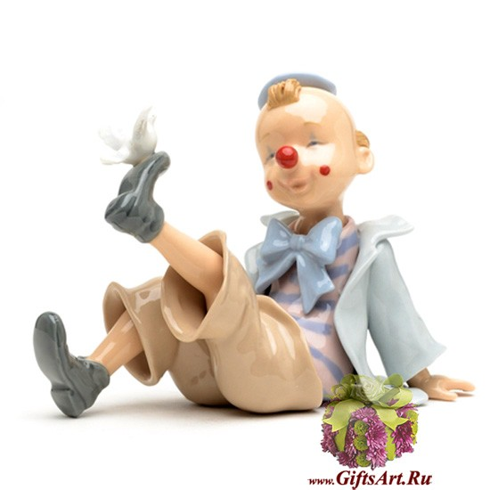 Фарфоровая статуэтка Клоун с птичкой