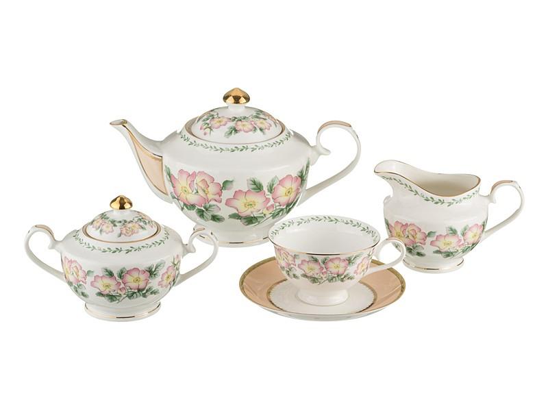 Чайный сервиз с изображением шиповника на 6 персон