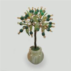 Дерево из нефрита Сия в вазочке из оникса