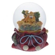 Фигурка в стеклянном шаре Пёс на смешке денег