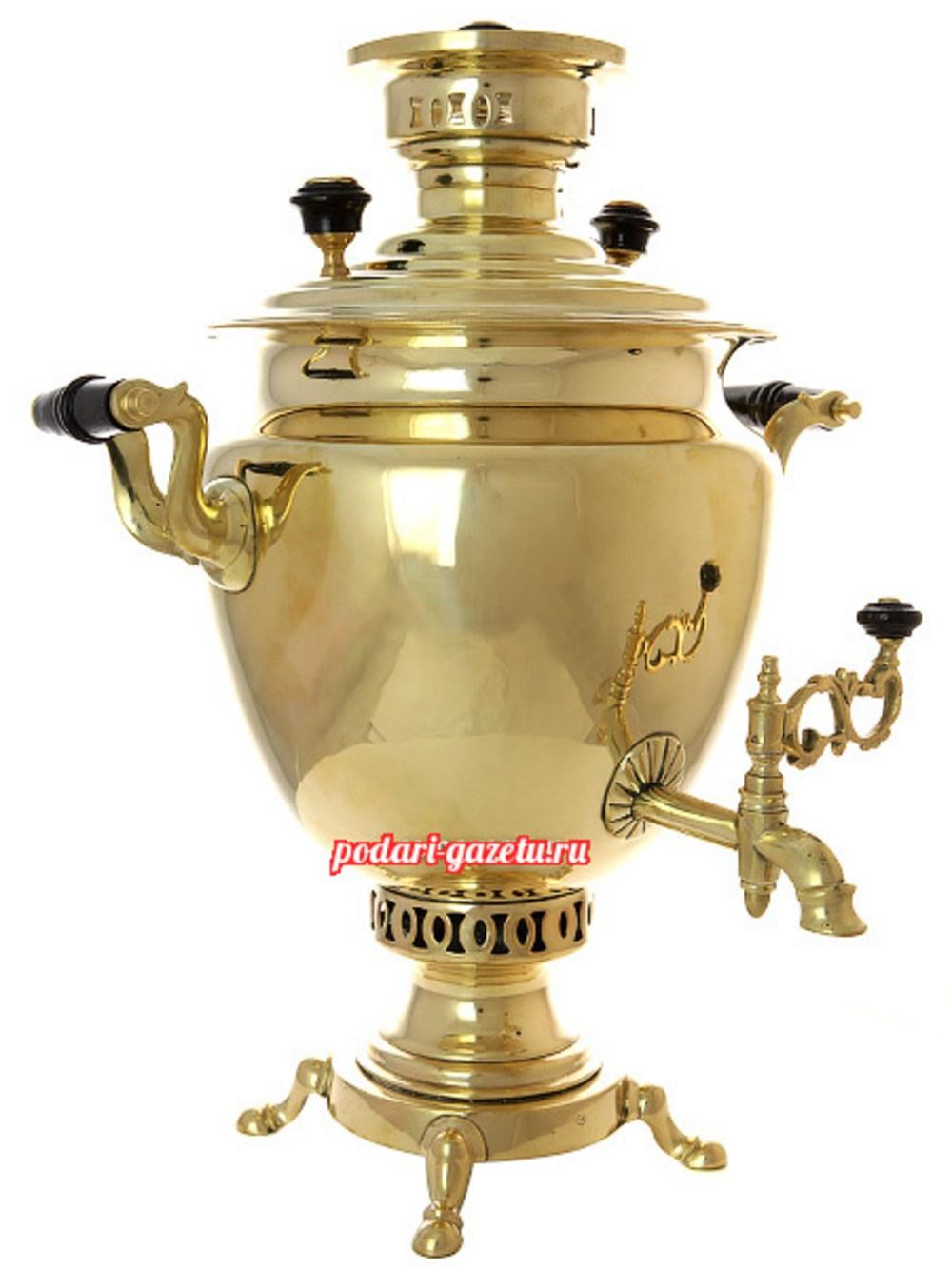 Угольный самовар (жаровой, дровяной) (5 литров) желтый полуяйцо