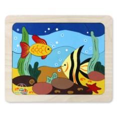 Деревянная мозаика ручной работы «Рыбки»