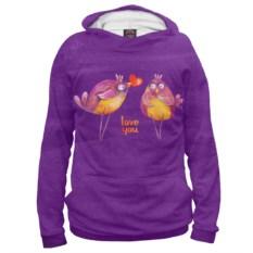Фиолетовое мужское худи Влюбленные птички