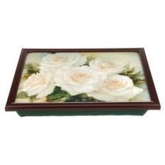 Поднос на подушке Белые розы