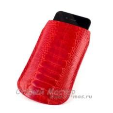 Красный чехол для iPhone из кожи ноги страуса
