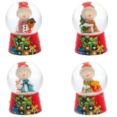 фигурка в стеклянном шаре Снеговик (цвет — красный)