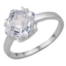 Серебряное кольцо с крупным фианитом