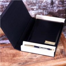 Набор: ежедневник с золоченым срезом и ручка с гравировкой