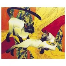 Картина-раскраска по номерам на холсте Кошки