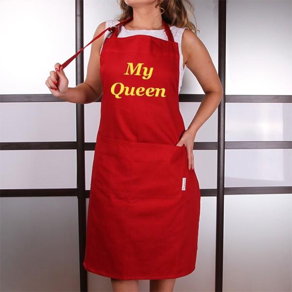 Женский фартук с вышивкой Английский шик, красный