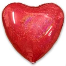 Фольгированный шар-сердце с эффектом блеска