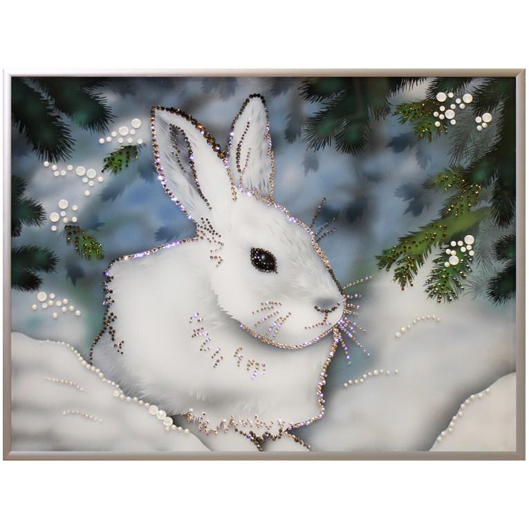 Картина Swarovski «Зайка беленький»