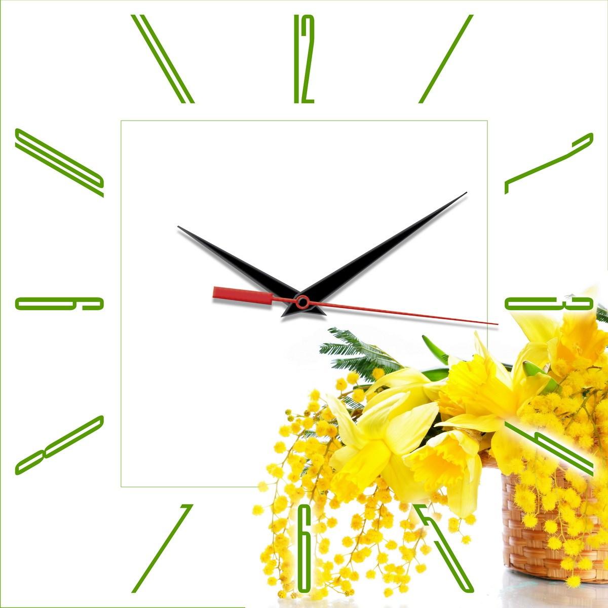 Квадратные настенные часы Весна. Мимоза