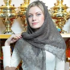 Пуховый оренбургский платок (цвет: серый, паутинка)