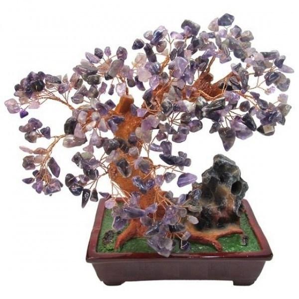 Бонсай (27 см) Аметист (дерево счастья из натуральных камней)