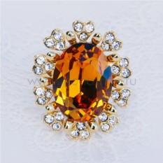 Кольцо «Солнце» с желтым кристаллом Сваровски