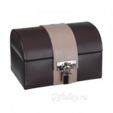 Шоколадно-коричневый футляр для драгоценностей из кожи