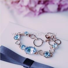 Браслет «Юнона» с голубыми кристаллами Сваровски