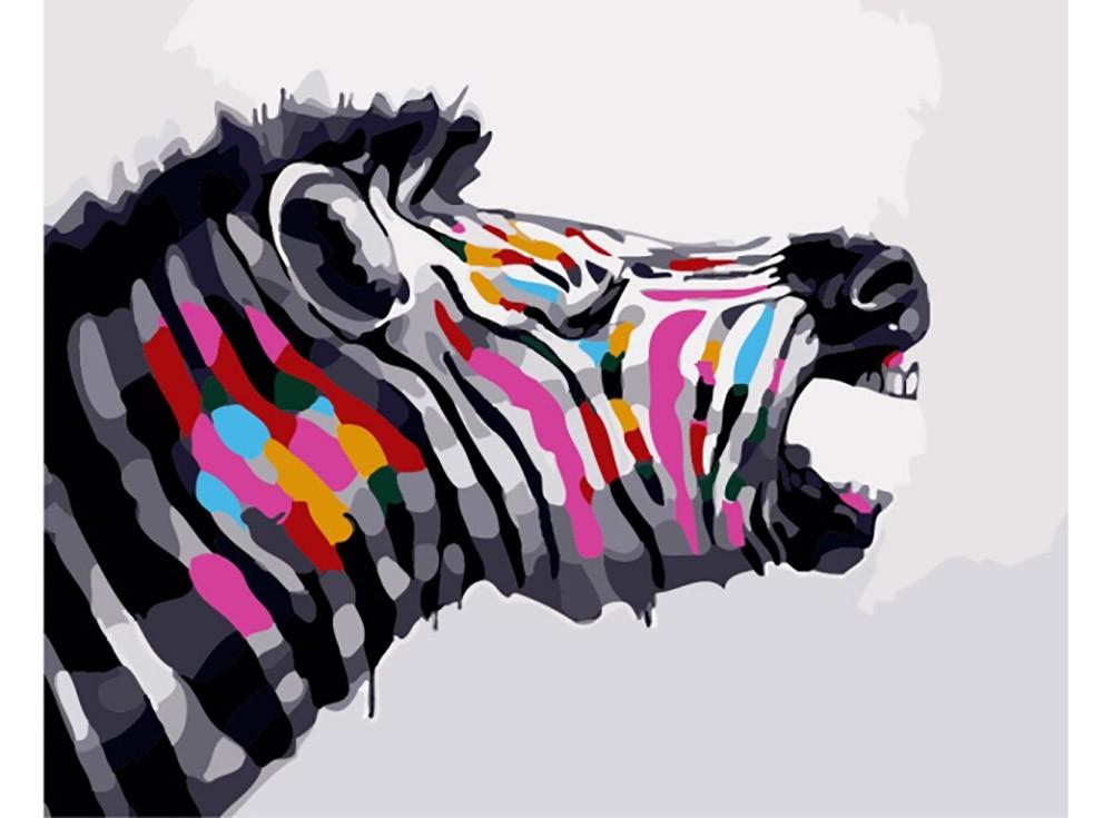 Картины по номерам «Разноцветная зебра»