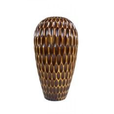 Большая деревянная ваза с резьбой