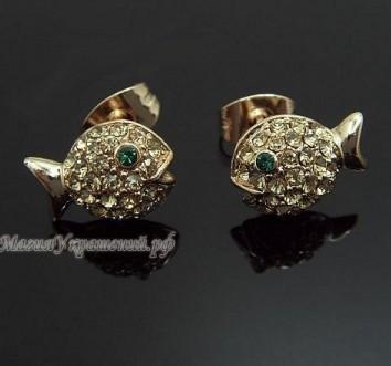 Серьги Золотые Рыбки с кристаллами Сваровски (Swarovski)