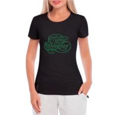 Женская футболка Merry Cristmas (цвет: черный)