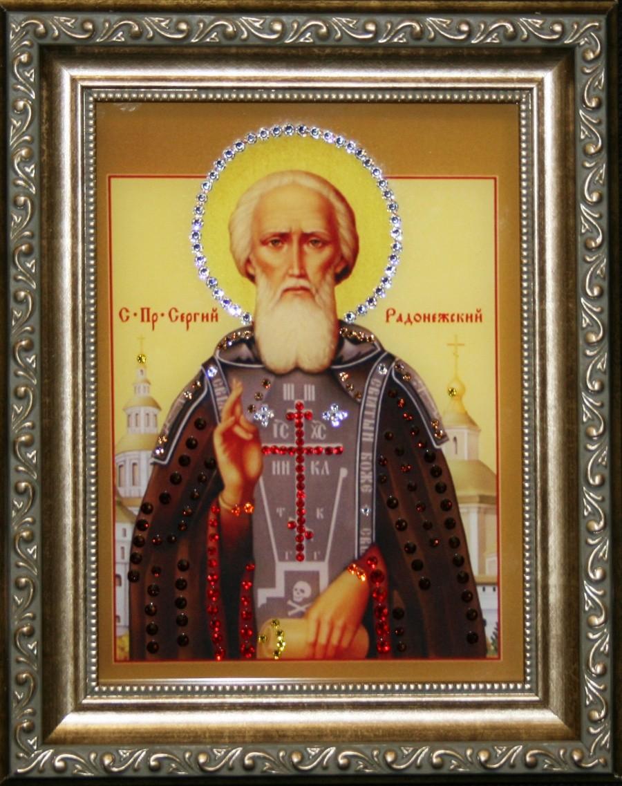Икона с кристаллами Swarovski Сергий Радонежский