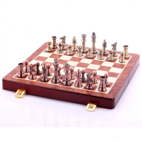 Шахматы (30 см) Элегант (деревянный кейс ручной работы, металлические фигуры)