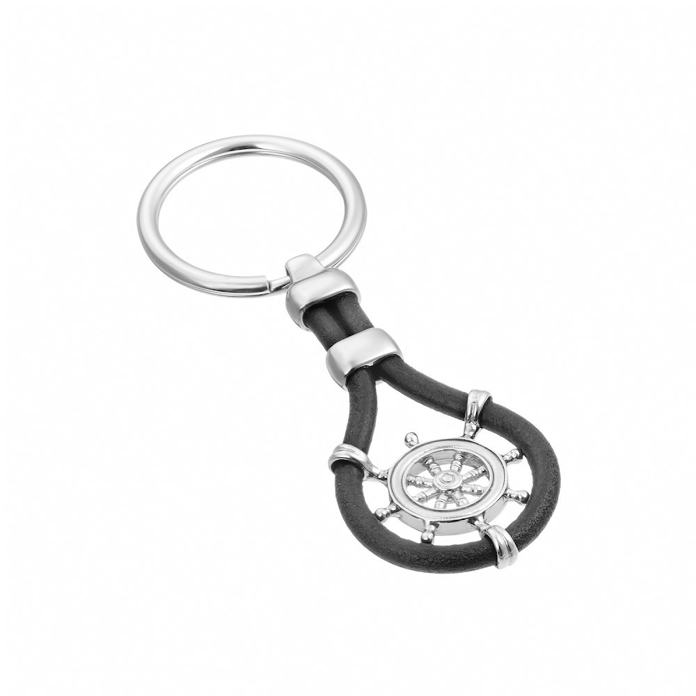 Серебряный брелок для ключей «Корабельный штурвал»