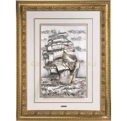Картина с посеребрением и позолотой Корабль под парусами