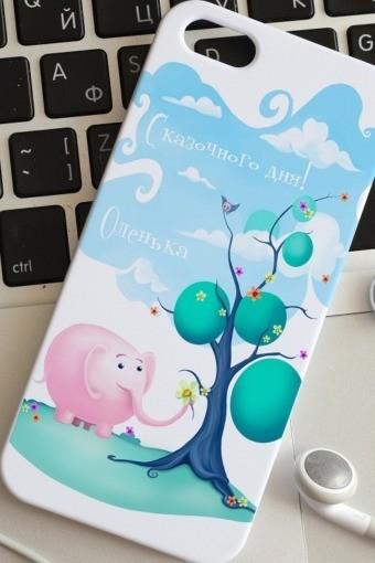 Чехол для iphone 5 с вашим текстом Слон и подарки