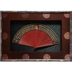 Картина фэн шуй интерьерная Веер Сто символов фортуны