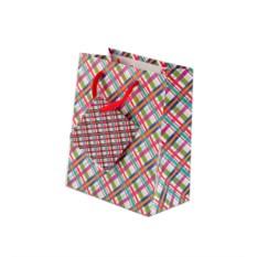 Бумажный ламинированный пакет в разноцветную клеточку