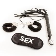 Эротический подарочный набор (наручники, черная плетка)