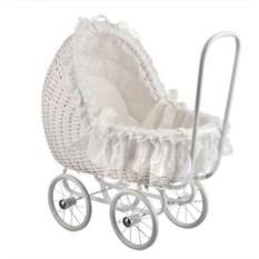 Белая плетеная коляска для кукол Leiteng Artwares