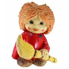 Декоративная садовая фигура Нафаня с метлой в красном