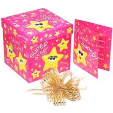Подарочная коробка с открыткой и бантом Super Star